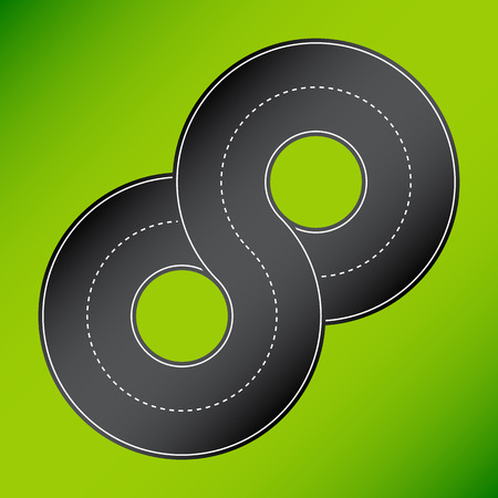 8 shape road. 8 shape road on green