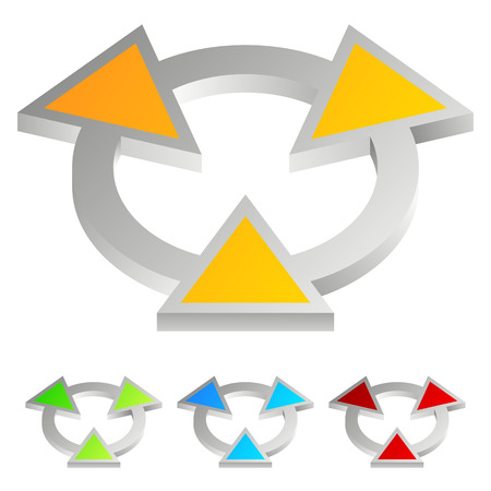 encircle: Bright abstract emblem - arrowheads pointing to center, radiation trefoil