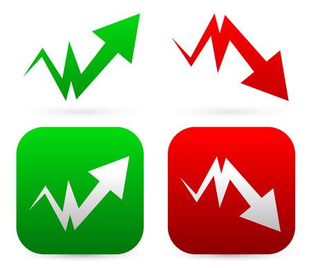 downward: Upward, downward arrows