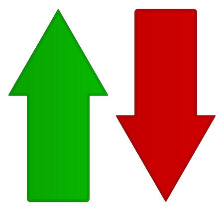 Eenvoudige pijlen omhoog en omlaag. Omhoog, omlaag pijlen in groen en rood