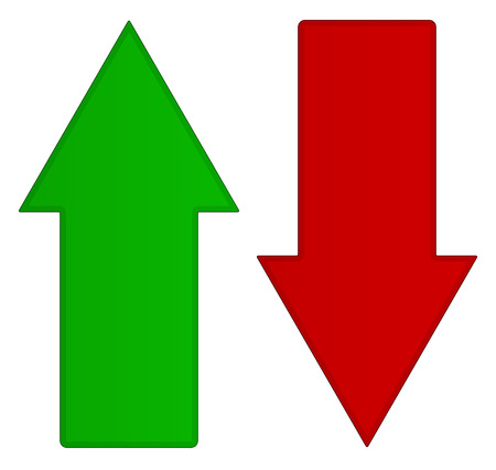 Simple up and down arrows. Upward, downward arrows in green and red