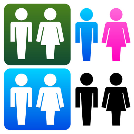 toilette: Unique restroom or general male, female signs