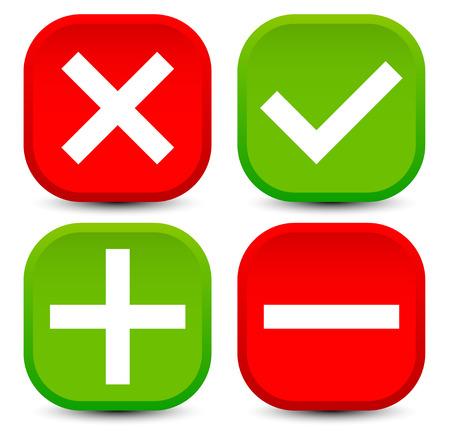 Checkmark, cross, plus, minus Vector