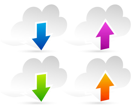 Upload, download clouds Vector