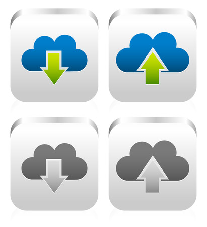 Upload, download buttons, icons with cloud Vector