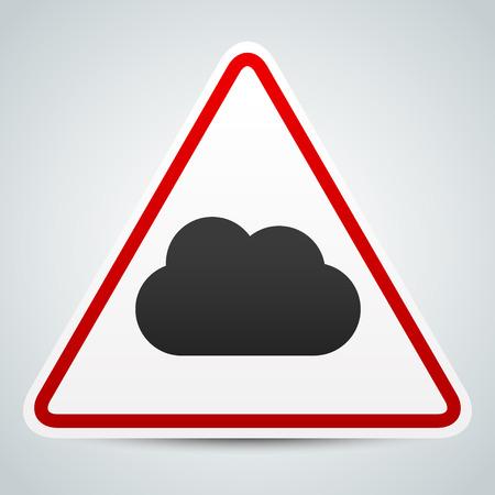 meterology: Cloud symbol on road sign. Storm ahead Illustration