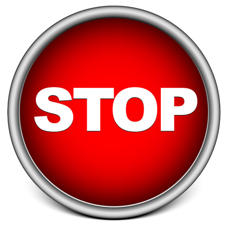 Button with word stop, stop sign Illustration
