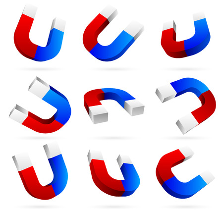 3d Bright magnets in different angles. Illustration