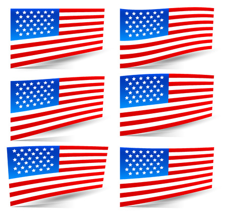 Set of USA flags Vector