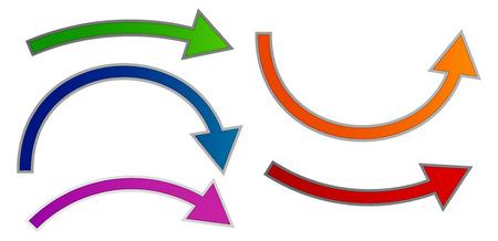 overtake: Bending arrow set. Colorful vector.