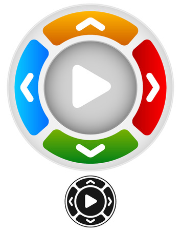 Arrows in four direction with play button at center Stock Illustratie