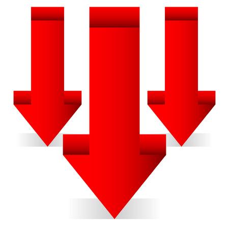 downsizing: 3d Red arrows, downward arrows.