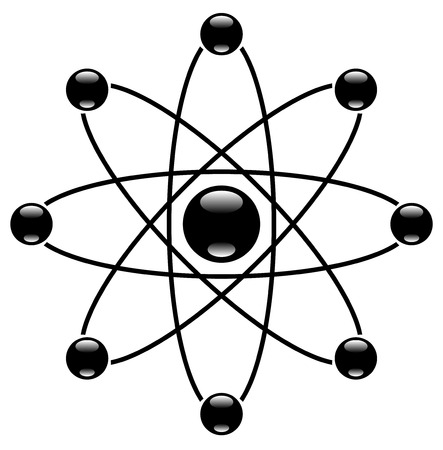 neutrons: Simple molecule symbol with nucleus and orbitting neutrons.