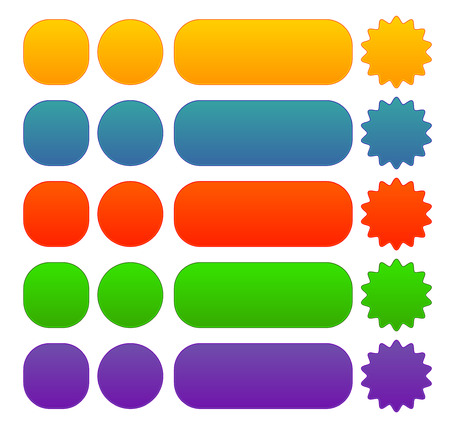 Button, banner, badge shapes in different color Vector