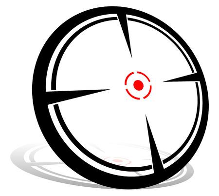 Crosshair graphics. Aim, target, focus, firearm reticle. Vector