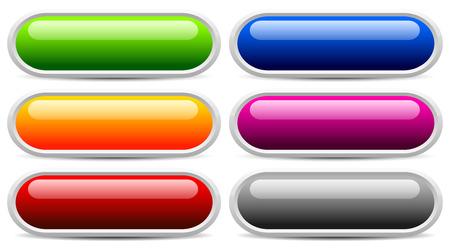 glossy buttons: Tasti lucidi, striscioni. Eps 10 Vettoriali