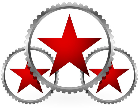 Red stars in gears composition Vector