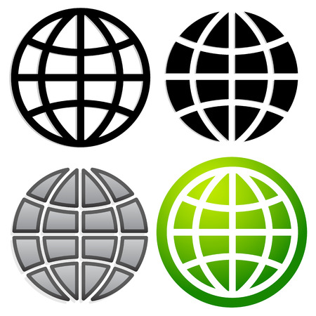 Globe graphics in 4 versions Vector