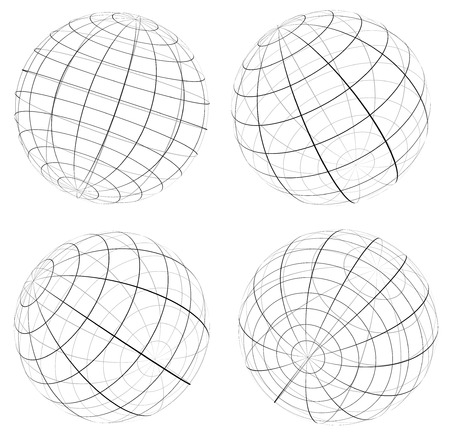 spherule: Grid, wireframe spheres, globes Illustration