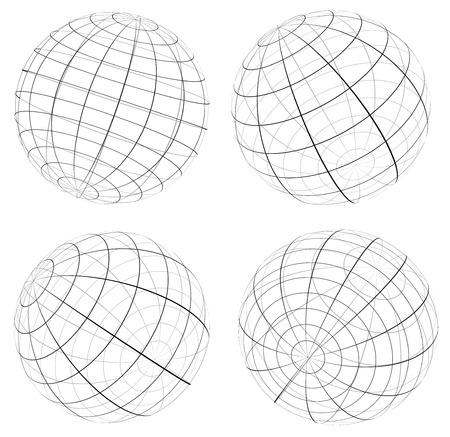 spherule: Grid, wireframe spheres, globes Illustration