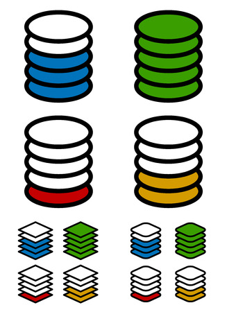 multi layered: Layers, stack, level elements. Multilevel, tiers concept.