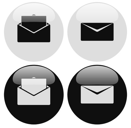 Email or envelope icons. Open, closed mail symbol. Vector