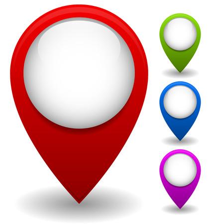 Thumbtack, map pin, location marker set Vector