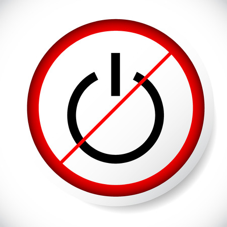 Power symbol and prohibition sign. Black out, no electricity, turn off your devices concept