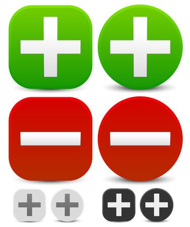 Plus, minus signs. Addition, subtraction, positive, negative icons