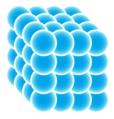coherent: Cube made of blue spheres abstract geometry Illustration