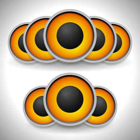 sub woofer: Orange loudspeaker, speaker vector