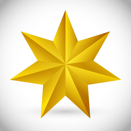 beveled: 3d faceted, beveled 6 pointed star Illustration