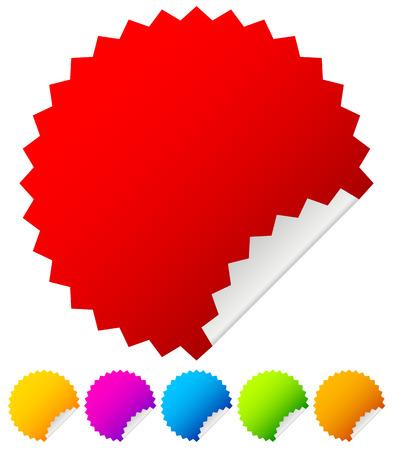 Starburst stickers with peel