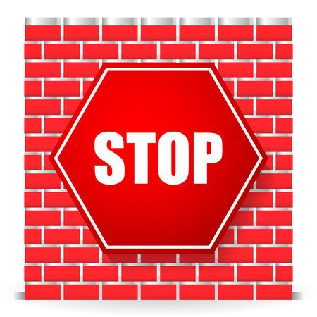 Stop sign on brickwall. Block, blocade, obstruction