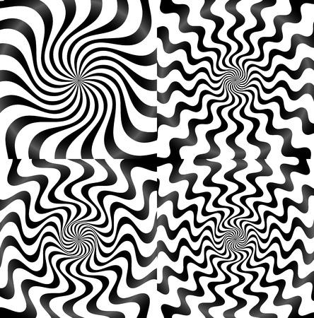 hypnotism: Whirlpool, spiral, spire, vortex background set
