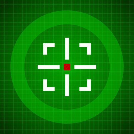 precisely: Crosshair over green grid background. Target, aim, scanner, viewfinder, radar, satellite.