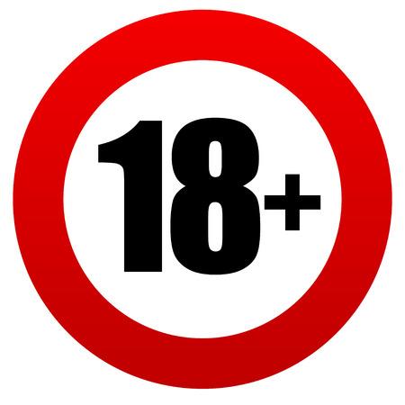 18 + 年齢制限の標識です。 写真素材 - 32300485