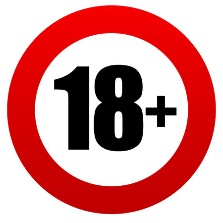 18+ age restriction sign.