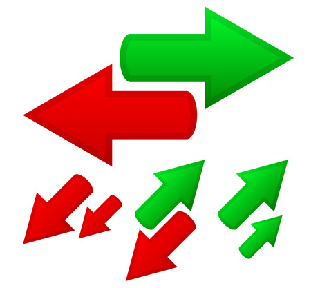 downward: Illustration of conceptual arrows. Opposite directions, growth, upward, downward trends, finance, different directions.