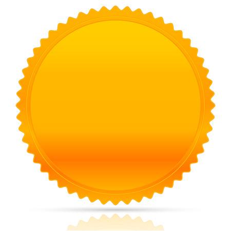 Illustratie van goud starburst vorm. Award, eer, kenteken, medaille, medaillon vector w / lege ruimte. Vector Illustratie