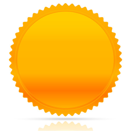 starburst: Illustration of gold starburst shape. Award, honor, badge, medal, medallion vector w empty space. Illustration