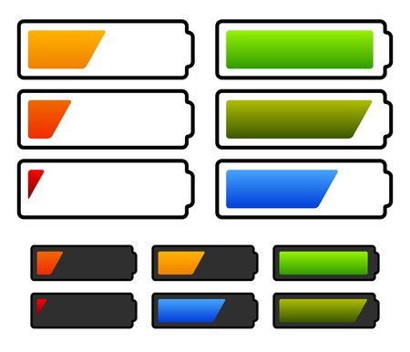 Illustration of battery level indicators. Battery life, accumulator, battery running low, battery recharging vector.