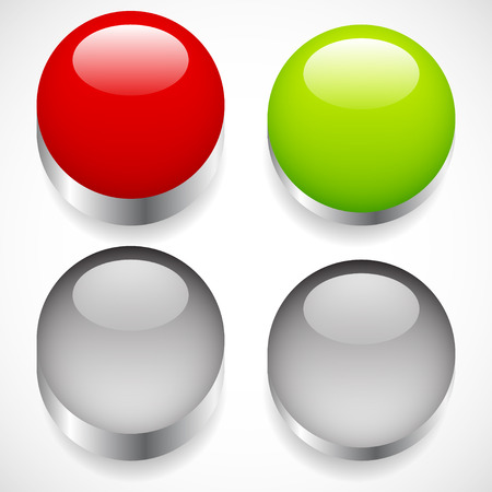 inactive: Intact, pressed button templates. Red, green pushbuttons or power buttons.