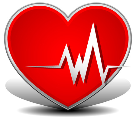 heart attack: Cardiology, heart with heart rate. , Heart attack vector. Illustration