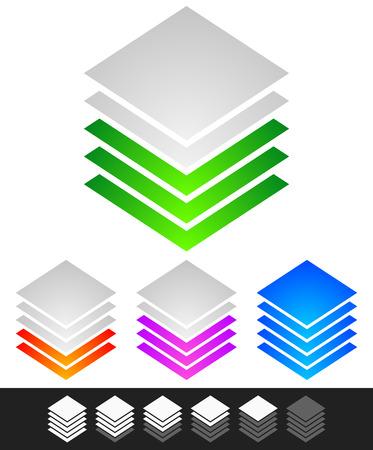 multi layered: Layered stacks. progress, level indicator symbol