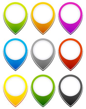 reference point: Illustration of map pins, thumbtacks