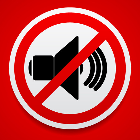 Speaker with probition sign. Silence, mute. Illustration