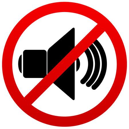 contaminacion acustica: Altavoz con signo probition. Silencio, silencio.