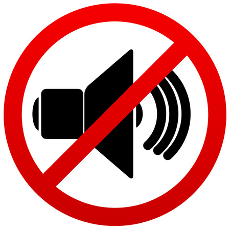 loud noise: Speaker with probition sign. Silence, mute. Illustration