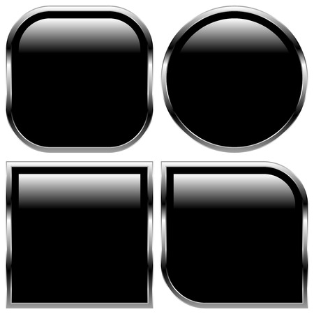 Stylish black glossy shapes, shiny buttons Vector